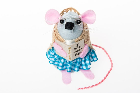 Reading Mouse Ornament Mothers Day artisan felt rat cute gift for bookworm book lover gift for librarian - Mrs Applecheeks Librarian Mouse