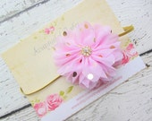 Pink Chiffon Flower with Gold Polka Dots on Gold Skinny Elastic