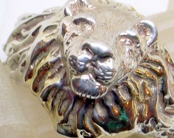 Vintage Sterling Lion Bracelet - BIG Lion Earrings. Signed - Lion Clip Back Earrings - Lion Set - 14k Gold Mane - August Zodiac Leo