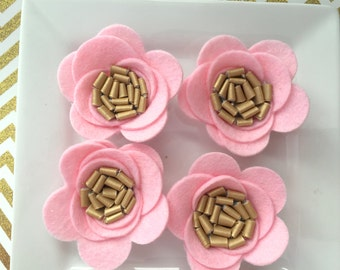 Wool felt rose - large pink with faux gold leather center - large wool felt roses for hairbows, headbands, scrapbook, picture embellishment