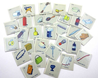 Vintage Picture Object Lotto Game Cards with Drugstore Bathroom Medicine Cabinet Clothing Items Images Set of 30