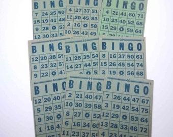 Vintage Green and Blue Bingo Cards Set of 9