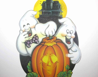 Vintage Ghosts Haunted House and Grinning Jack O Lantern Halloween Decoration or Die Cut by Beistle NOS
