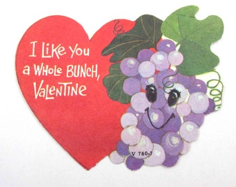 Vintage Children's Novelty Valentine Greeting Card with Adorable Anthropomorphic Grapes