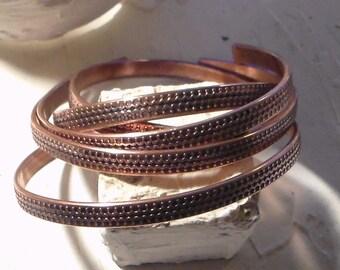 Etched Copper Cuff Unisex Men Women