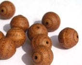 40% off Shop Closing 12 11mm Carved Antiqued Indochine Light Brown Beads PB007