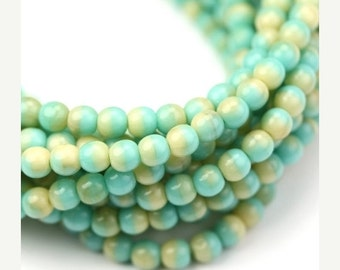 50% Off Sale Czech Glass Bead Round Druk 4mm Opaque Turquoise and Beige (50) CZP631