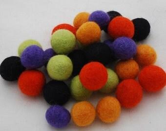 100% Wool Felt Balls - 30 Count - 2cm - Assorted Halloween Colors