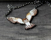 Beautiful flying barn owl- bird pendant- by Fanny Dallaire -  leather work
