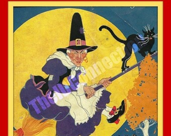 Valentines Day Sale 1930's Halloween Art Deco style Witch Black Cat, Color Copy or Digital Scan, Black Bat, Full Moon,Children, Witches Broo