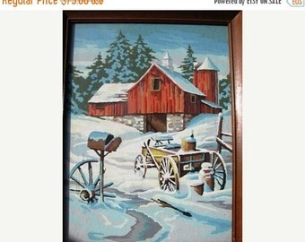 Valentines Day Sale Vintage 1960's Paint by Number Winter Red Barn, Snow, Wagon, Post Office Box, Country Farm Retro 60's Painting hand pain