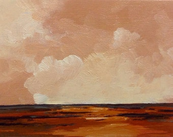 "COPPER CAST, oil painting landscape original oil, 100% charity donation, original painting  6""x8"" canvas panel, sky, clouds"