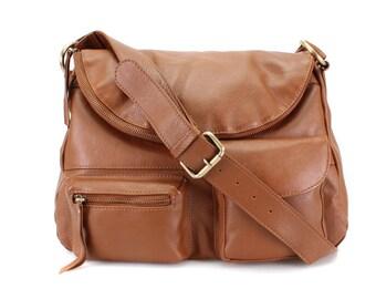 Brown Leather Crossbody Messenger Handbag