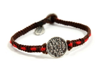 925 Sterling Silver Wishes Amulet on Handwoven Macrame Bracelet with the Original Red Kabbalah String Woven In - Men & Women