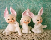 Vintage Set of Three Easter Snow Bunny Rabbits with Sugared Sand Finish Japan