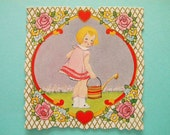 Vintage Valentine's Day Card Girl with Watering Can Carrington Card