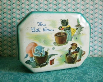 Vintage 1942 Tin Litho Candy Toffee Container Three Little Kittens Hinged Box