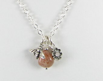 Sunstone Nugget with Sterling Silver Bee and Flower Charm Necklace