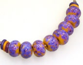Handmade Lampwork Glass Beads - Oro Valley! 8 bead set. Zimmermann purple rose splashes on apricot. Earring pairs. Z-99