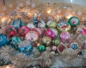 31 beautiful old glass christmas tree ornaments, soft pastels,  pretty patina. shapes, glitter, stencils, holiday decor, special assortment