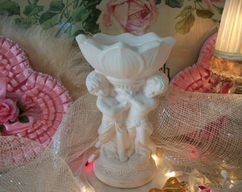 vintage white and pink cherub compote holder floral arranger, shabby valentine or christmas decoration, dreamy cottage chic decor, angels