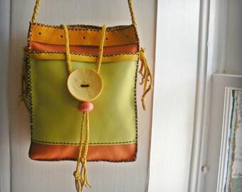 "BIG BUTTON BAG leather Shoulder Purse, 2 pocket, lime green orange yellow, art to wear, 8"" X 9 1/2"", hippie boho high fashion, tote bag"