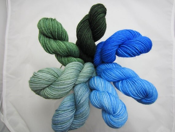 Earth to Sky - Dyed to Order - Hand Dyed - Merino Wool Yarn - Fingering Weight - Gradient Kit - Mini Skeins