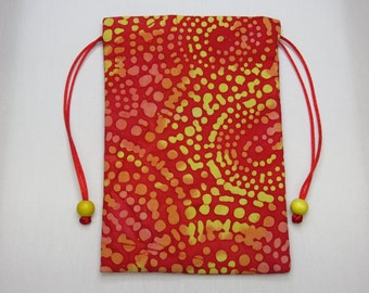"Red and Yellow Batik, Silk Lined Handmade Tarot Card Pouch, Tarot Card Bag 4.75"" x 7.25"""