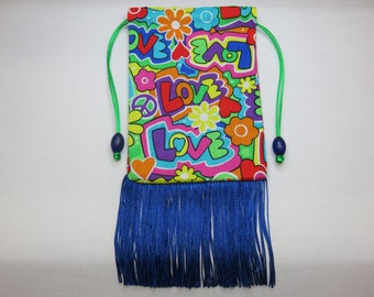 Love silk lined tarot card pouch, tarot card bag, handmade