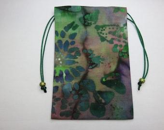Batik, Silk Lined Handmade Tarot Card Pouch, Tarot Card Bag 4.75 x 7.5