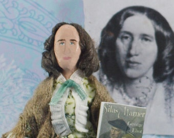 George Eliot Author Doll Miniature Classic Literature Writer by Uneek Doll Designs