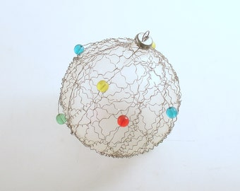 Vintage Christmas Ornament Christmas Decoration Glass Crinkle Wire Beads