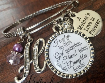 Mother daughter jewelry, mother daughter bracelet, gifts for mom from daughter, personalized gift, charm bangle bracelet, birthday gift