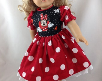 American Girl Doll dress Minnie Mouse just like the Disneyland Dress Red with White Polka Dots Eyelet Lace Hair Bow and FREE Hanger