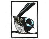 Linocut of Superb Fairy Wren with Hand Painted Colour, Australian Bird Print, Printmaking, Lino Print