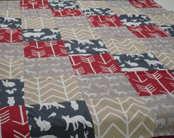 Woodland Animals Red Navy and Tan Minky Blanket with Border You Choose Size and Minky Color  MADE TO ORDER No Batting