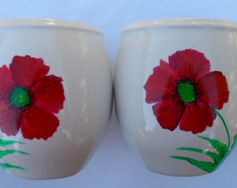 Poppy Coffee Cups Hand Painted Poppy Mugs Hand Painted Poppies Set of 2