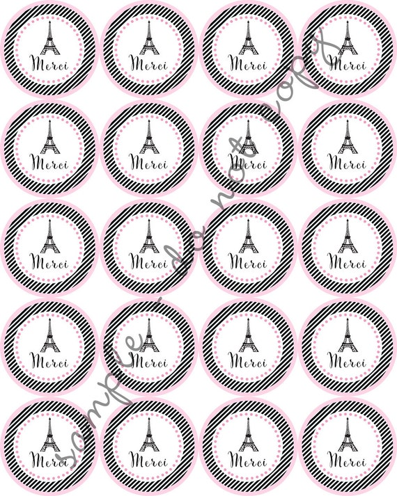 """INSTANT DOWNLOAD / Merci Paris Eiffel Tower French 2"""" printable ..."""