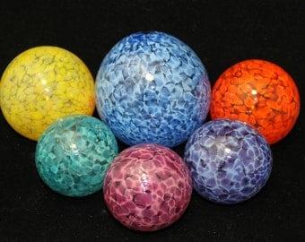 Set of 6 Colorful Hand Blown Glass Floats, Garden Balls, Glass Gazing Orbs Outdoor Art Decoration