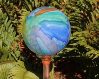 NEW ITEM Multicolored Cosmic Hand Blown Glass Orb or Garden Ball Art Sculpture Outdoor Decoration