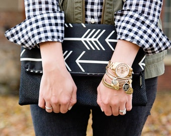 Arrows Clutch -Clothing Gift - Black Clutch Purse- Gift for Her- Vegan Leather Clutch - Monogram Clutch - Zippered Clutch -Personalized Gift