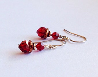 small red earrings - 3rd anniversary gift - 7th - 15th wedding anniversary - crystal jewelry - july birthstone - copper