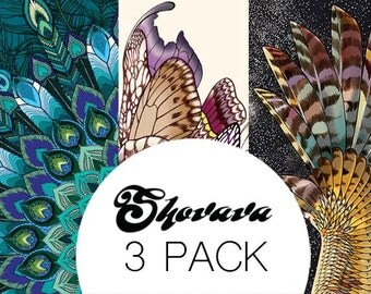 Pack of 3 SILK CASHMERE Scarves, Discount, Owl Peacock and Butterfly Scarves, Bridesmaid Gift Girlfriend Gift, Gift for Mom Anniversary Gift