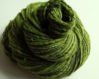Handspun Art Yarn - FRESH PICKLED TOAD - Harry Potter Inspired. Green, Soft Wool, Glass Beads, Sequins. Glow in the Dark. 157 yds, 3.56 oz