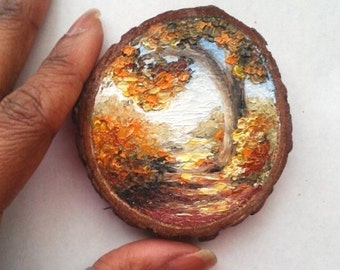 """Mini Oil Painting Landscape Fall Tree on Wood Slice 3"""" READY TO SHIP"""