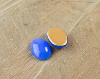 Blue Glass Opal Oval Cabochon 18X13mm (2) cab440T