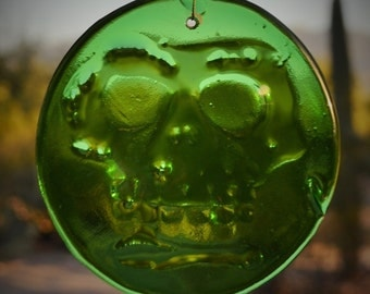 Skeleton Day of the Dead Sugar Skull Suncatcher Green Glass