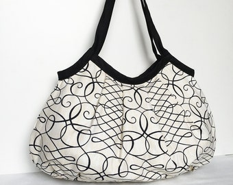 SALE 30% OFF - Granny Bag - Calligraphy Swirl Ink