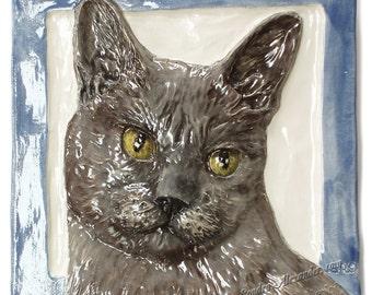 Burmese Cat Tile CERAMIC Portrait Sculpture 3d Art Tile Plaque FUNCTIONAL ART by Sondra Alexander In Stock