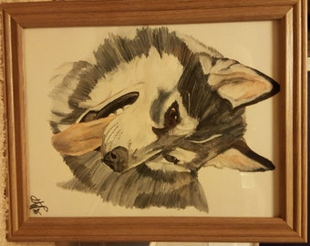 Watercolor Pencil Husky Painting or Print